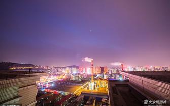 风雪欲来气温降 济南城区夜景迷人