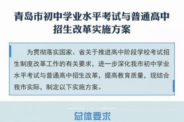 青岛初中学业水平考试与普通高中招生改革实施方案