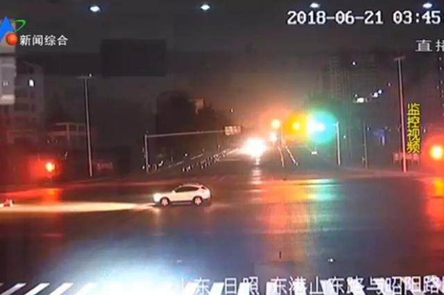 日照一车主凌晨等红灯 等了2个多小时