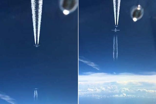 """罕见同框 一飞机反方向从两架飞机间""""擦肩""""穿过"""