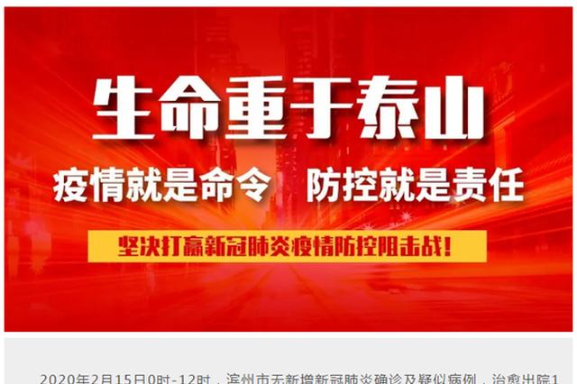 2020年2月15日0时-12时,滨州市无新增新冠肺炎确诊病例,治愈出院1例
