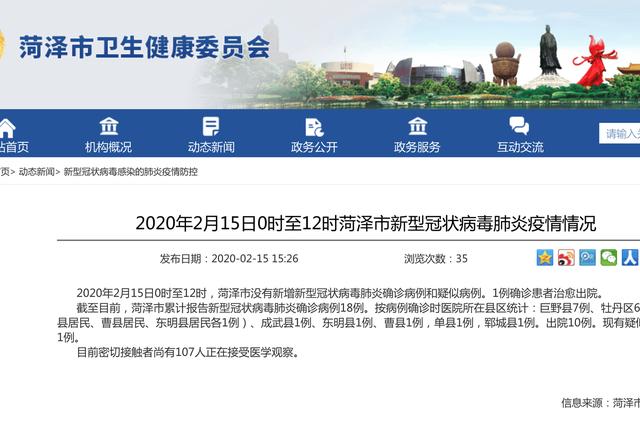 2020年2月15日0时至12时菏泽市新型冠状病毒肺炎疫情情况