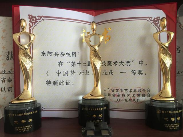 """东阿杂技""""中国梦-蹬鼓""""荣获全省一等奖"""