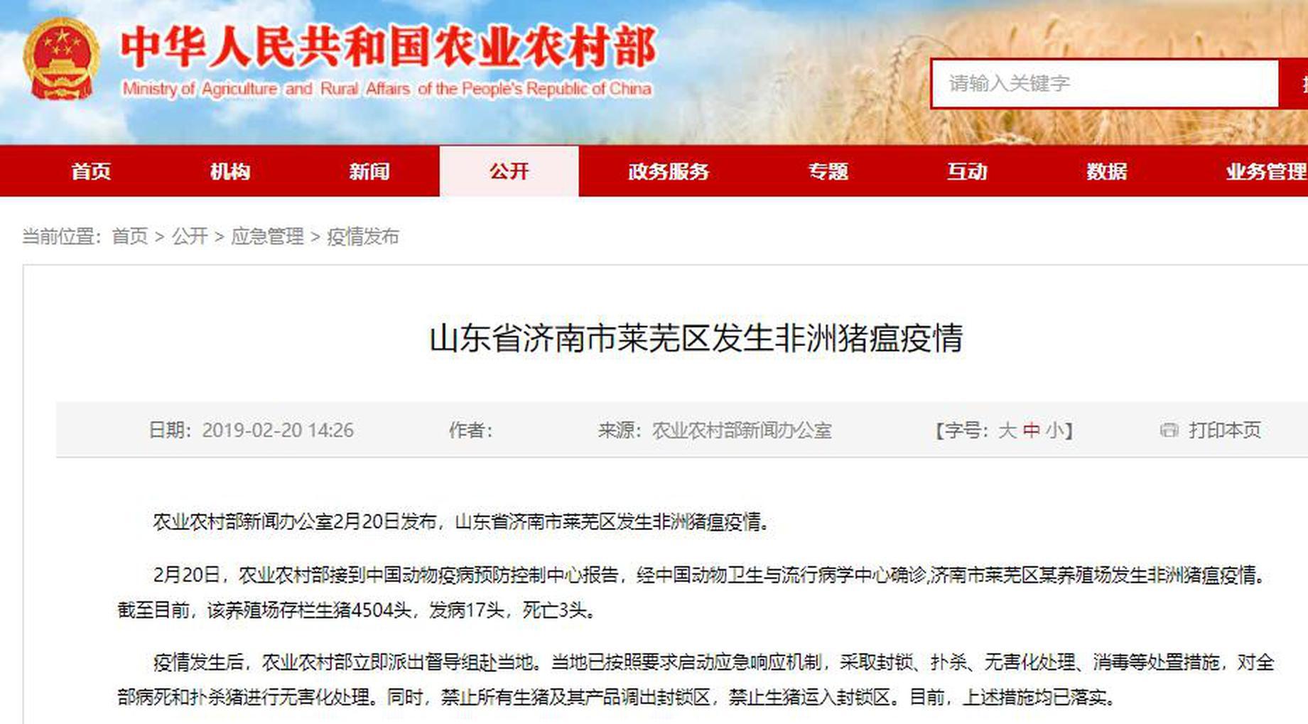 济南市莱芜区发生非洲猪瘟疫情 农业农村部已赴当地