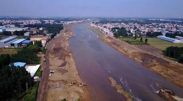 航拍济南东郊小清河拓宽工程