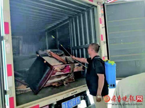 大件垃圾处理公司的工作人员正在消毒
