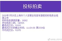 沪牌7月拍卖结果公布