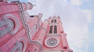越南胡志明市的粉色教堂