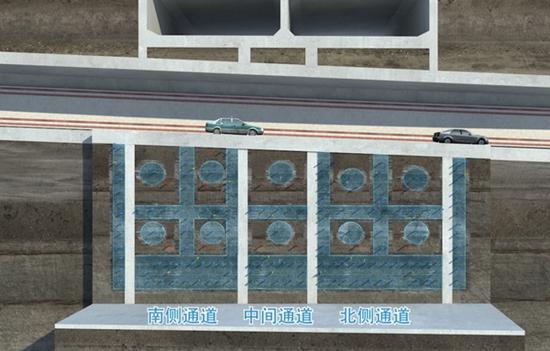图说:浦东大道站,下穿隧道暗挖段分为三个区域 采访对象供图(下同)