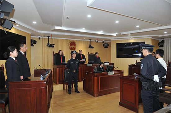 图说:长宁法院开庭宣判现场。金文斌 摄