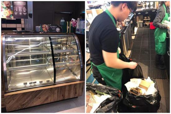 被曝光的星巴克奉贤南桥百联店食品陈列柜台(左图),店员在清理食品