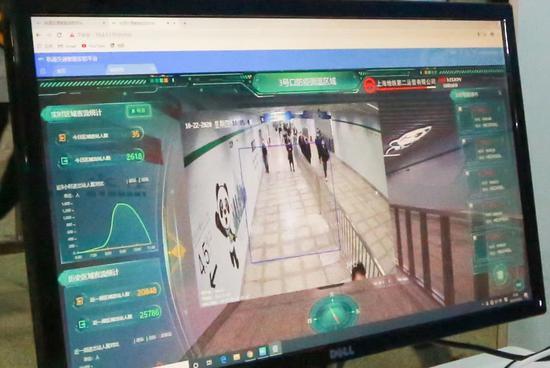 徐泾东站工作人员通过视频分析技术,对进站乘客佩戴口罩和体温情况进行监测。