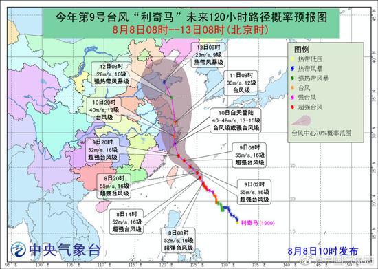 台风红色预警发布 利奇马或10日登陆浙江沿海