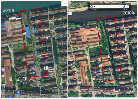 左图红框内为河道现况;右图红框内为2010年河道的状况,可以发现8年间河道变窄了许多。