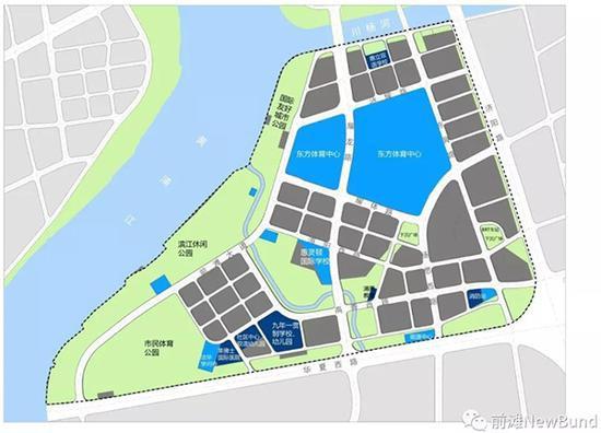 """前滩国际商务区配套项目开发建设动态。微信公众号""""前滩NewBund""""资料 图"""