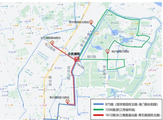 小吉浦桥途经公交线路示意图