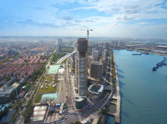 图说:上海长滩观光塔项目顺利完成主体结构封顶 宝山区政府供图(下同)