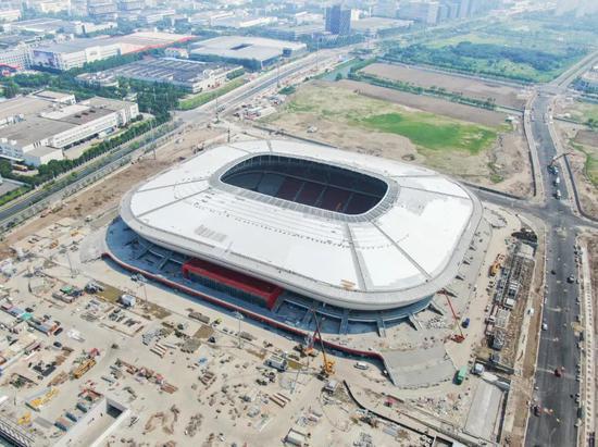 浦东足球场施工进入收尾阶段 将于9月15日阶段性交付