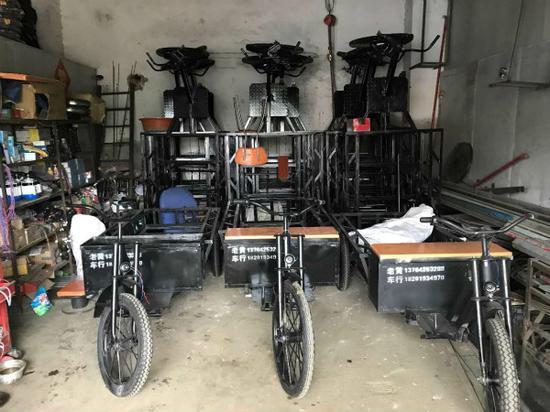 图说:人力三轮车改装窝点。警方供图