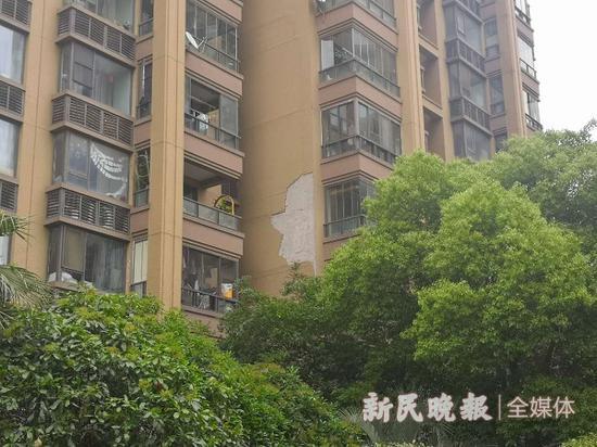 图说:品尊国际公寓多幢居民楼发生外墙脱落 新民晚报记者 夏韵 摄(下同)