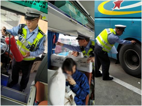 图说:徐汇交警对长途车辆进行安全检查。