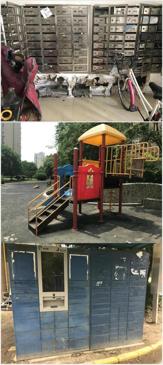 信箱、儿童游乐设施、快递自提柜等配套服务处于损毁和报废状态。