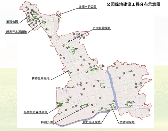 """""""十四五""""期间闵行区公园绿地建设项目分布图"""