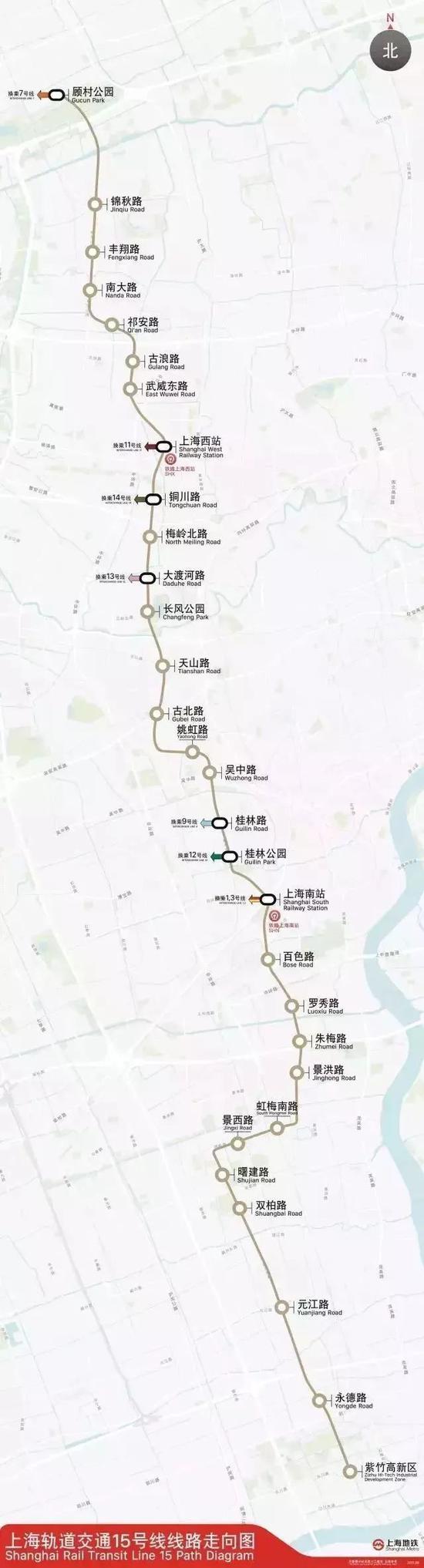 上海轨道交通15号线全线领悟闵行宝山等5个区