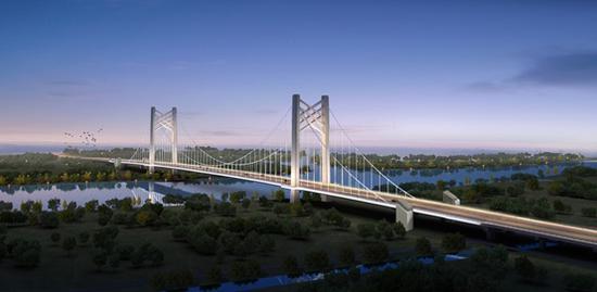 黄浦江上首座悬索桥嘉松公路越江大桥开工 建成可骑行