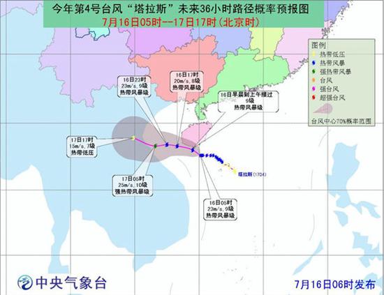 """图说:第4号台风""""塔拉斯""""未能影响上海来源:中国气象网"""