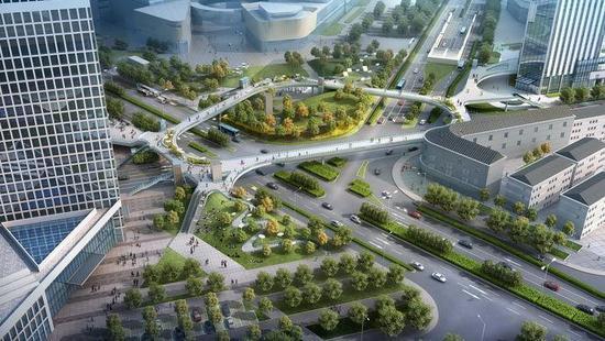 """今天,""""新江湾城空中连廊工程""""设计方案公示结束,一个高度接入周边商业"""