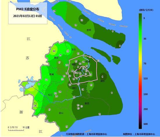 2021年大年初一凌晨1时各空气自动站PM2.5小时浓度空间分布