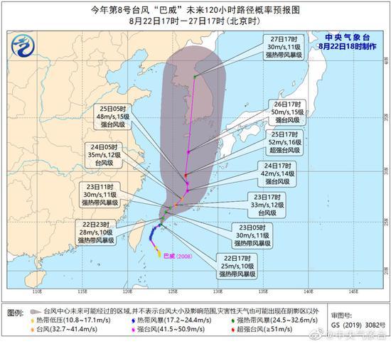 """今年第8号台风""""巴威""""已于8月22日生成。 微博@中央气象台 图"""