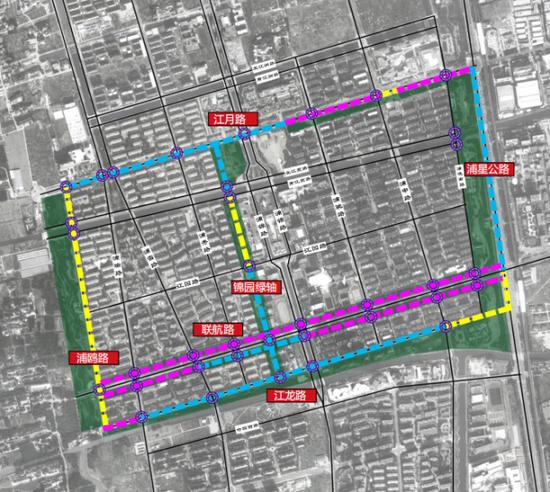 浦锦街道环社区绿道涉及浦星公路、江龙路、浦鸥路、江月路等路段