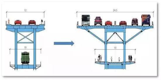 大桥改造前后横断面对比