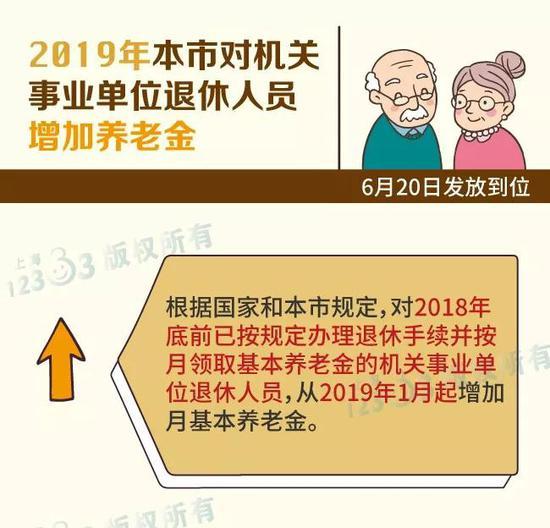 沪提高机关事业单位退休人员养老金 6月20日发放到位