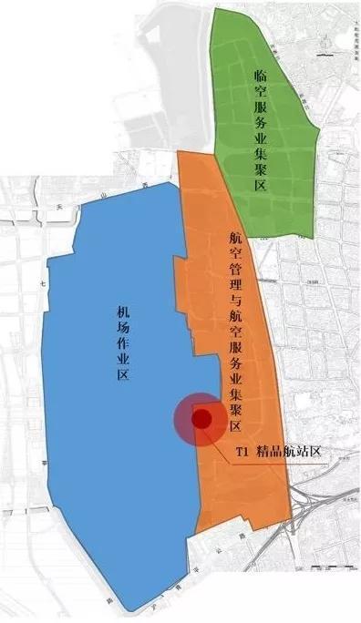 """虹桥临空经济示范区""""一核三区""""布局规划示意图"""
