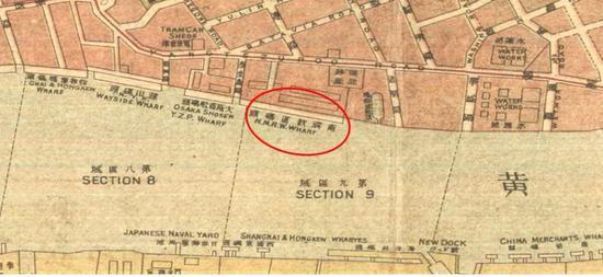 △黄浦码头位置,出自1920 年上海地图
