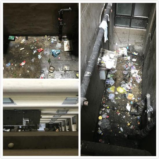 大楼的深井区域成了垃圾收集地。