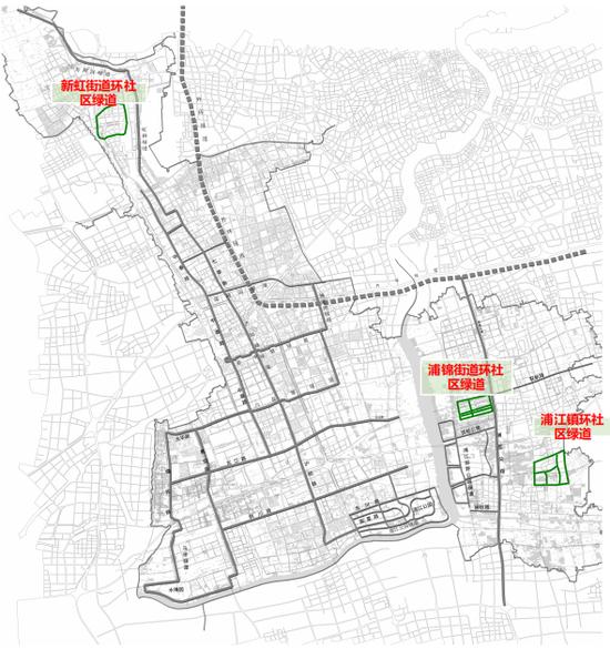 2021年拟打造3条环社区绿道的位置