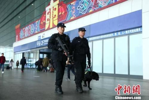资料图:2018年春节期间,杭州铁路公安处特警队员在杭州东站巡逻。杭州铁路公安处 供图