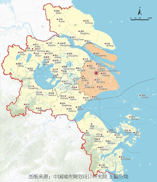 """上海大都市圈(1+8)范围图。""""上海大都市圈规划"""" 微信公众号"""
