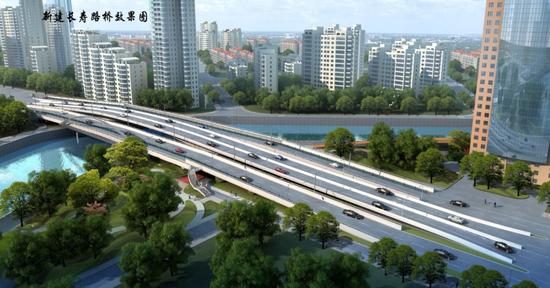 新建长寿路桥效果图