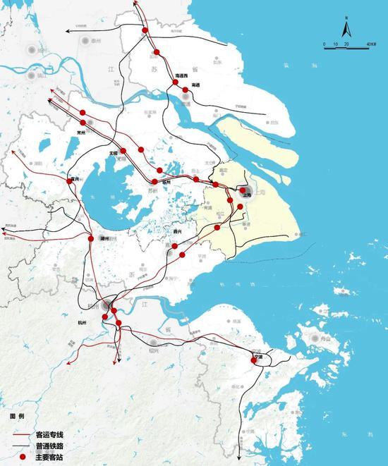 """铁路现状图 """"上海大都市圈规划"""" 微信公众号"""
