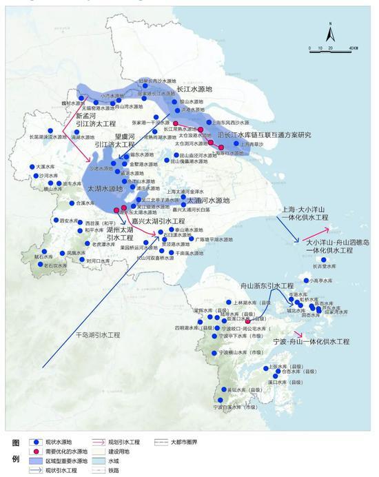 """上海大都市圈水源地共保共建规划图""""上海大都市圈规划"""" 微信公众号"""