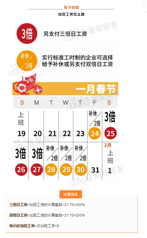 春节加班工资怎么算?这三天是三倍工资