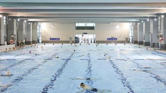 市民在东方体育中心游泳馆内健身。