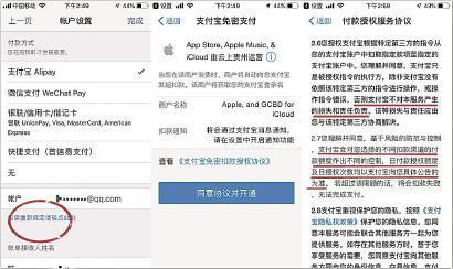 记者查看苹果支付宝免密支付操作,授权信息说明模糊。 车佳楠 摄