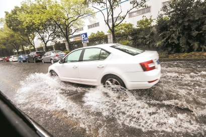 """昨天,台风""""温比亚""""登陆上海,部分地区出现短时积水。本报记者 张海峰 摄"""
