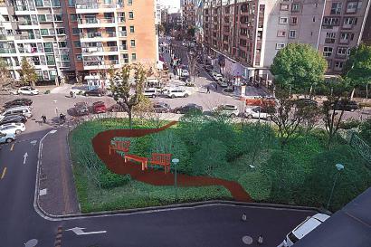 锦建路、伟德路交叉口的三角地,绿地与行人鲜少形成互动。如果能开辟几条小径、设置一些座椅和花坛,就能让行人在此停留、休憩。